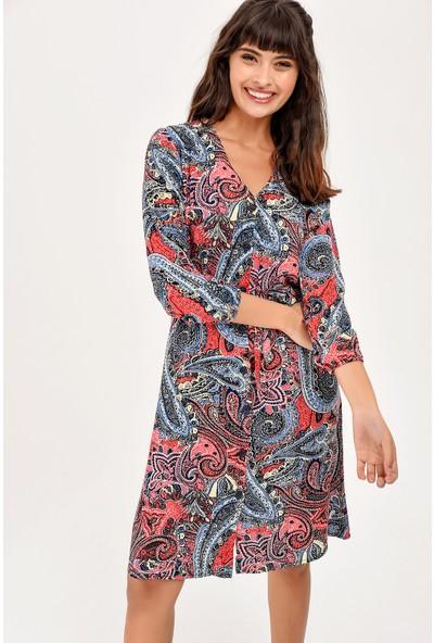 New Laviva Siyah Desenli V Yaka Düğmeli Kadın Elbise