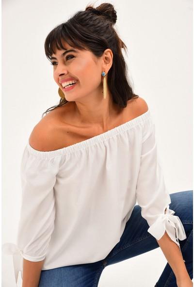 New Laviva Beyaz Kadın Bluz