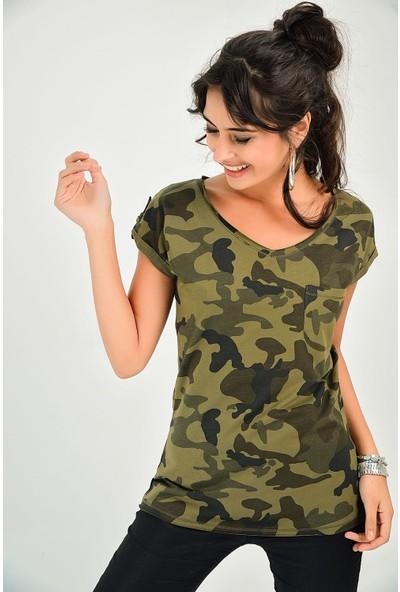 New Laviva Kamuflaj Haki Kadın Bluz