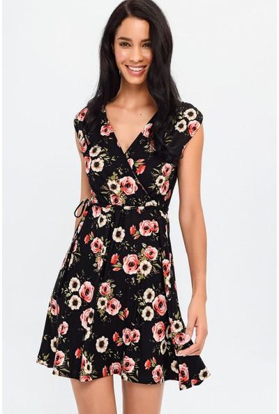 New Laviva Siyah Kolsuz Desenli Mini Kadın Elbise