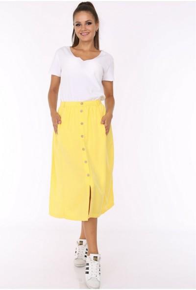 Her Mod'A Bir Moda Keten Önü Düğmeli Etek