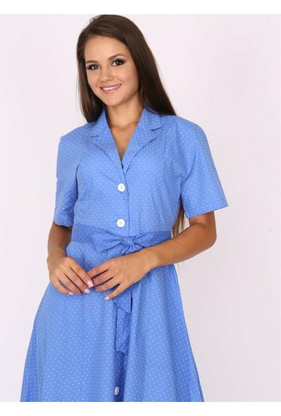 Her Mod'A Bir Moda Puantiye Desenli Elbise