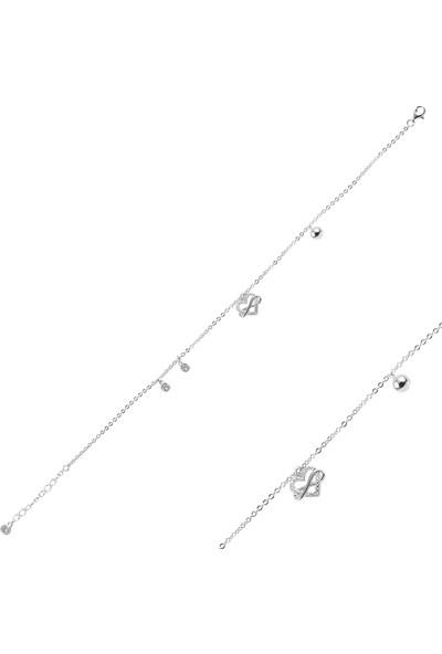 Tevuli Gümüş 925 Ayar Zirkon Taşlı Kalp Figürlü Halhal