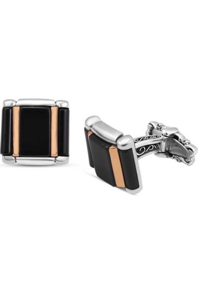 Silverplus Gümüş Siyah Onix Taşlı Kol Düğmesi