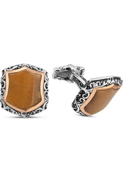Silverplus Gümüş Kaplan Gözü Taşlı Kol Düğmesi