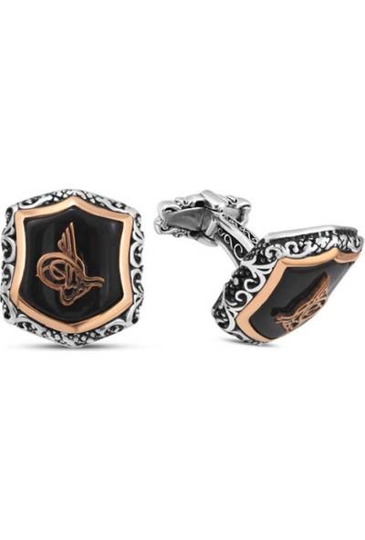 Silverplus Gümüş Siyah Onix Taşlı Osmanlı Tuğralı Kol Düğmesi