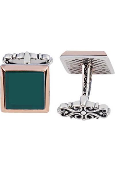 Silverplus Gümüş Yeşil Akik Taşlı Düz Kol Düğmesi