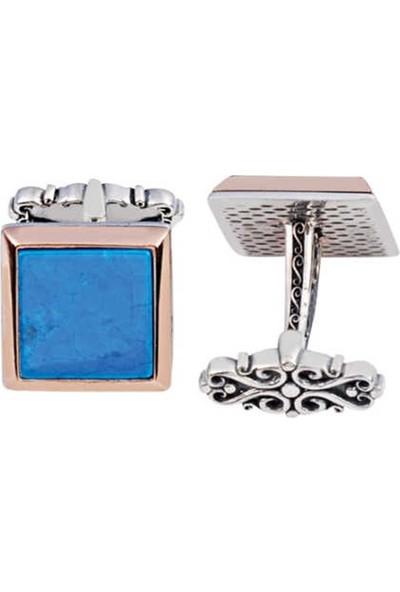 Silverplus Gümüş Turkuaz Taşlı Düz Kol Düğmesi