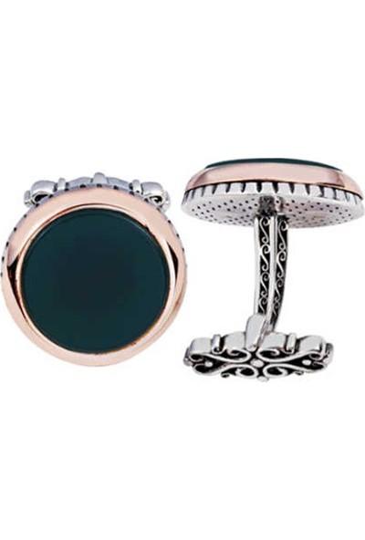 Silverplus Gümüş Yeşil Akik Taşlı Yuvarlak Model Kol Düğmesi