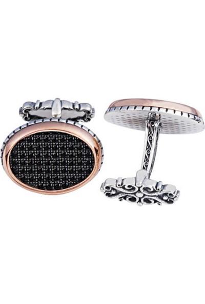 Silverplus Gümüş Siyah Zirkon Taşlı Oval Tasarım Kol Düğmesi