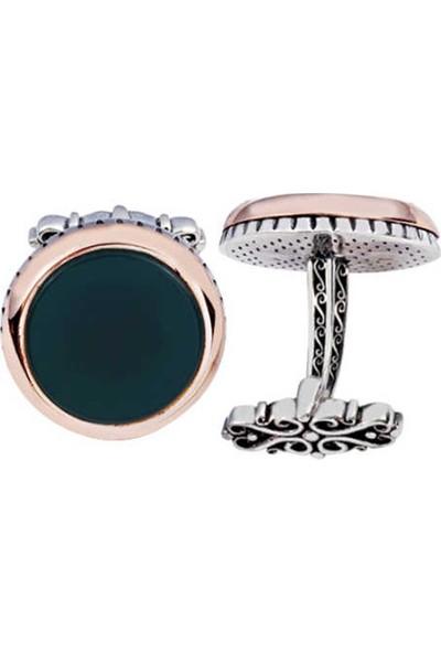 Silverplus Gümüş Yeşil Akik Taşlı Yuvarlak Kol Düğmesi