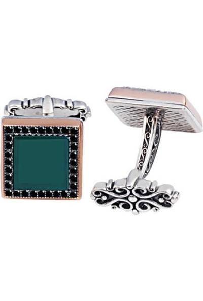 Silverplus Gümüş Yeşil Akik Taşlı Siyah Zirkon İşlemeli Kol Düğmesi
