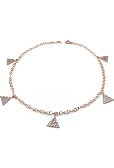 MaGümüş Kalın Zincirli Rosegold Üçgen Beşli Yeni Sezon Gümüş Halhal Bileklik