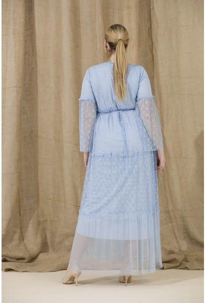 Gör&Sin Kol ve Etek Tül Detaylı Hamile Abiye Elbise BebeMavi