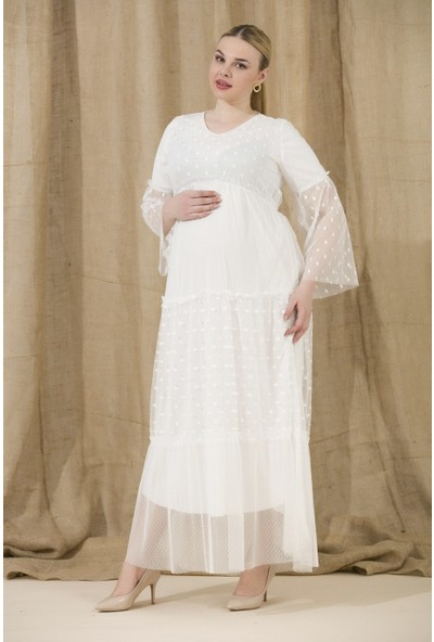 Gör&Sin Kol ve Etek Tül Detaylı Hamile Abiye Elbise Beyaz