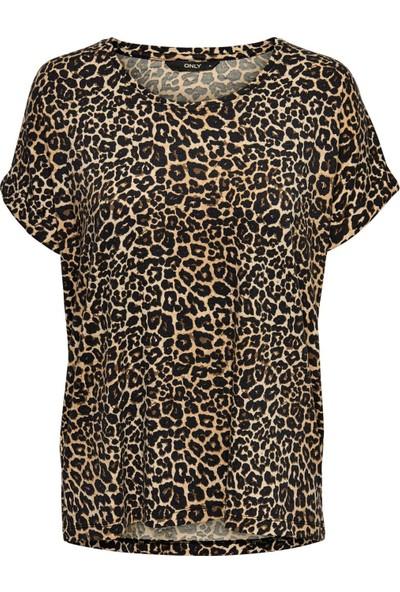 Only Kadın Leopar Desenli O Yaka T-Shirt 15182852
