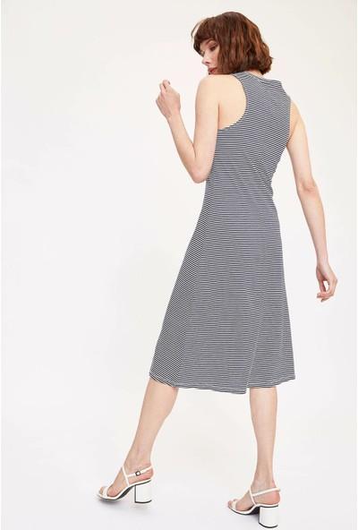 DeFacto Çizgili Uzun Elbise