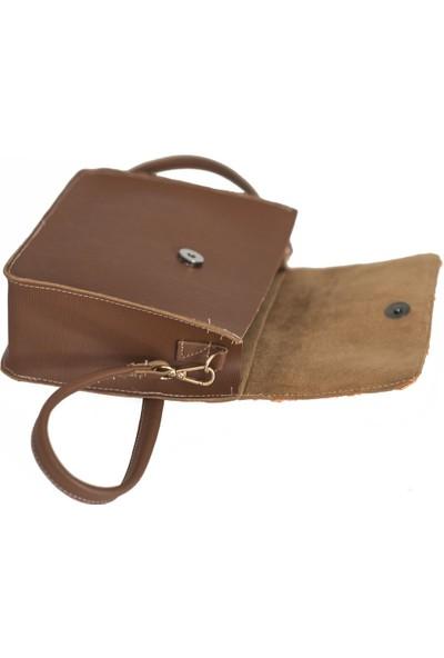 Kavshak Hasır Kapaklı Çanta Taba