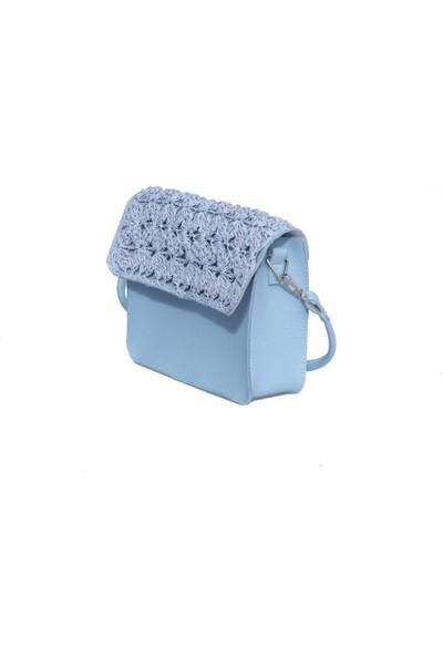 Kavshak Hasır Kapaklı Çanta Buz Mavisi