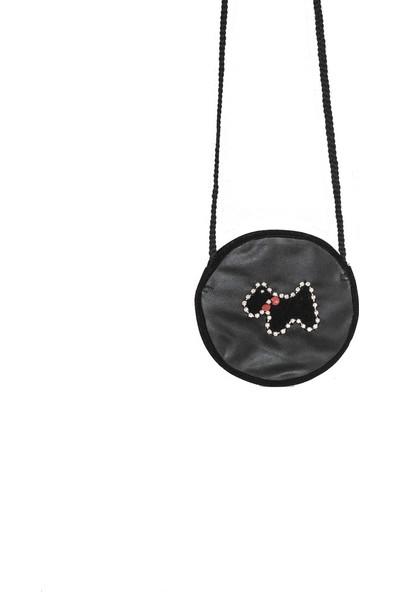 Kavshak Çapraz Askılı Taş İşlemeli Yuvarlak Mini Çanta Siyah