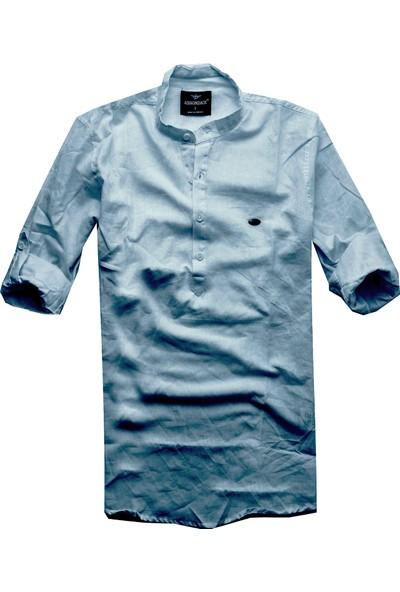 Adi̇rondack Slim Fit Haki̇m Yaka Keten Gömlek
