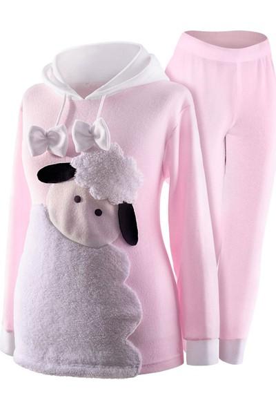 Oulabimir Baskılı Kapüşonlu Polar Kız Çocuk Pijama Takımı