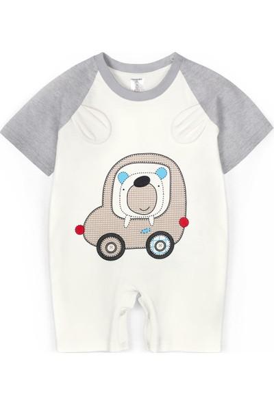 Oulabimir Yazlık Araba Nakışlı Şortlu Bebek Tulum