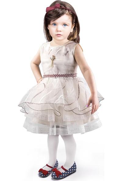 Oulabimir Krem Kız Çocuk Prenses Elbisesi