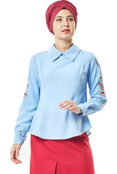 Butik Melina Gömlek-Buz Mavisi 2047-14