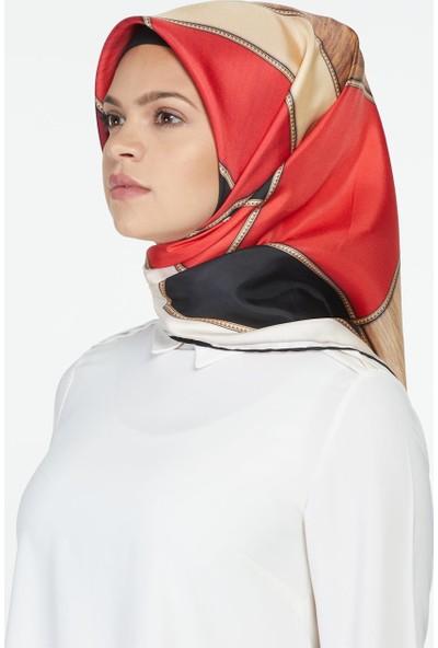 Vissona Twil İpek Eşarp-Siyah Kırmızı 14198-0134