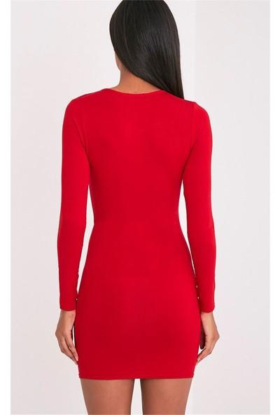 JT Uzun Kollu Kırmızı Mini Elbise