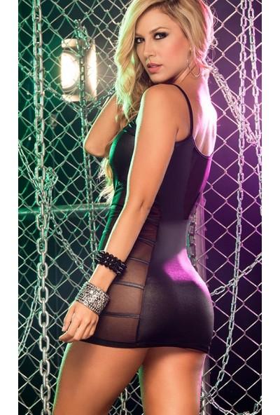 JT Transparan Dekolteli Mini Elbise 101089