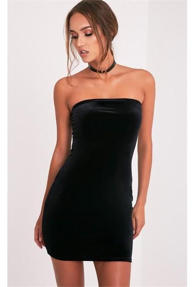 JT Kadife Straplez Mini Elbise 101322
