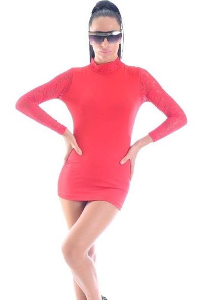JT Kırmızı Uzun Dantel Kollu Mini Elbise