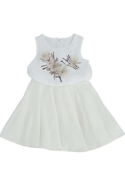 Obella Ekru Kız Çocuk Elbise