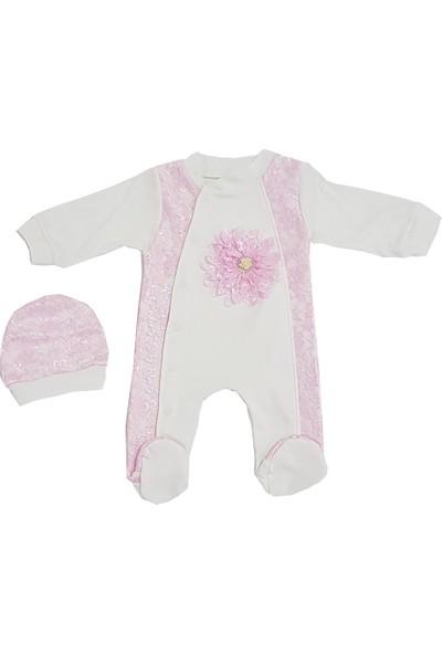 Mini Teti Pembe Çiçekli Kız Bebek Tulum