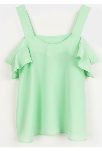 Coten Concept Kolları Volanlı Dökümlü Bluz