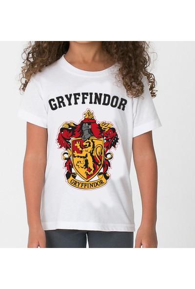 Harry Potter Gryffindor Çocuk T-Shirt Beyaz Unisex