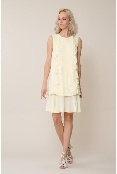GIZIA Casual Fırfır Detaylı Mini Pilise Sarı Elbise