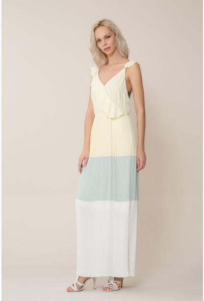 GIZIA Casual Fırfır Detaylı Uzun Pilise Elbise