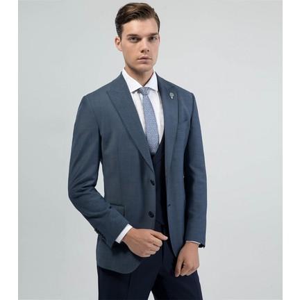 f8adda06853ad Çift Geyik Karaca Erkek Regular Fit 6 Drop Klasik Yelekli Takım Elbise  Lacivert