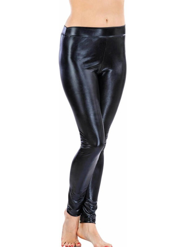 Lady Lingerie Siyah Deri Görünümlü Tayt 8144