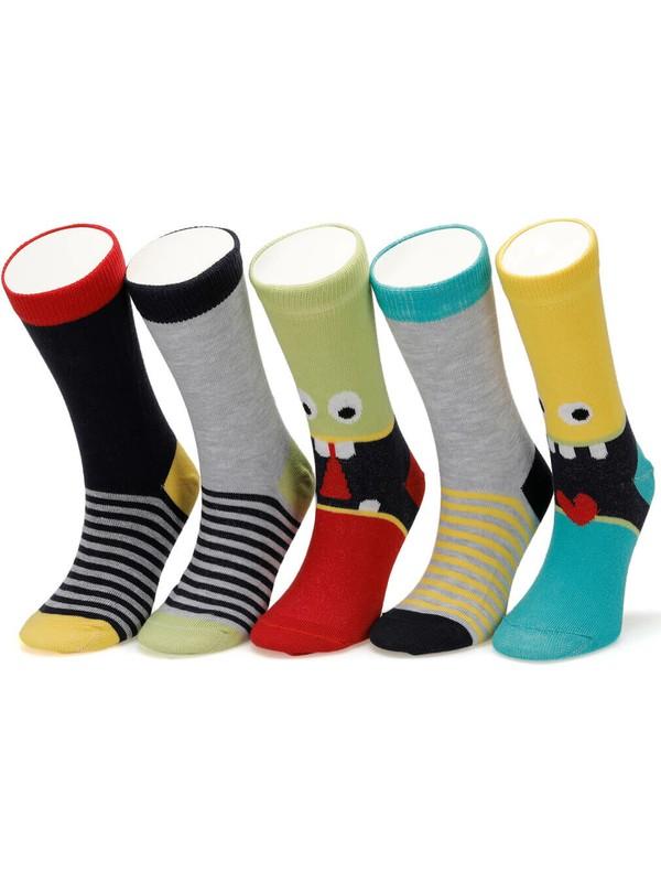 I Cool Smiles 5 Li Skt-B Çok Renkli Erkek Çocuk Soket Çorap