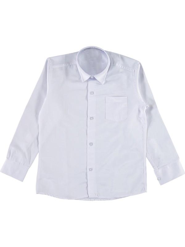 Messy Erkek Çocuk Pamuklu Uzun Kol Düz Beyaz Gömlek 16 Yaş