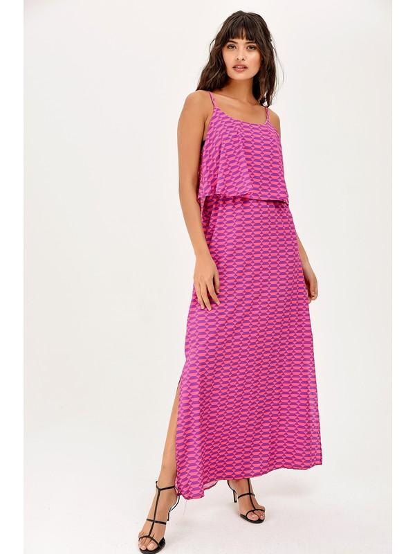 New Laviva Pembe Askılı Yırtmaçlı Yazlık Kadın Elbise