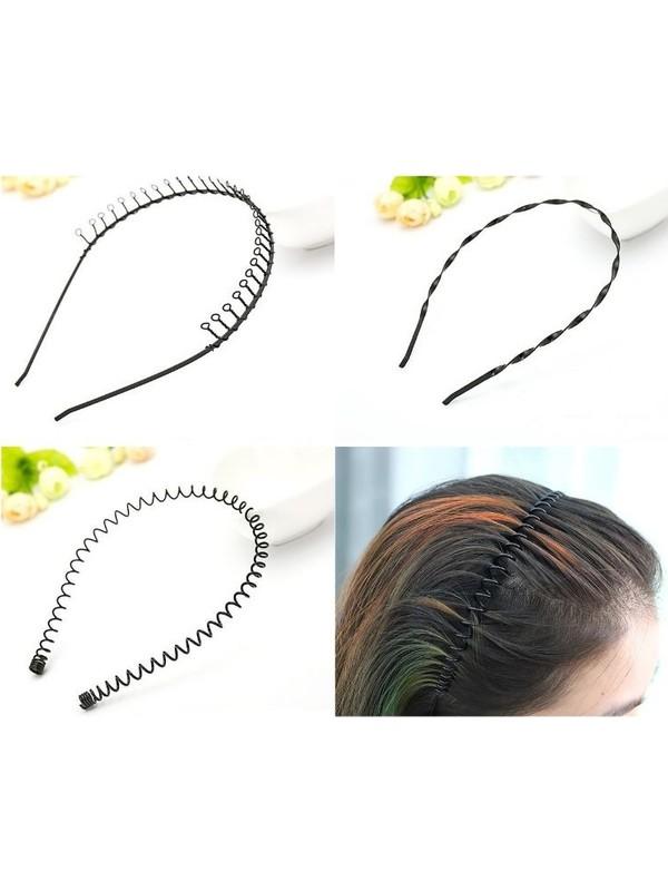 Süs Market SM001 Unisex Siyah Metal Saç Tacı 3 Parça Set