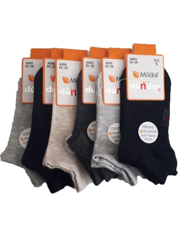 Dündar Erkek Çocuk Modal Dikişsiz Patik Kısa Çorap 6 lı paket