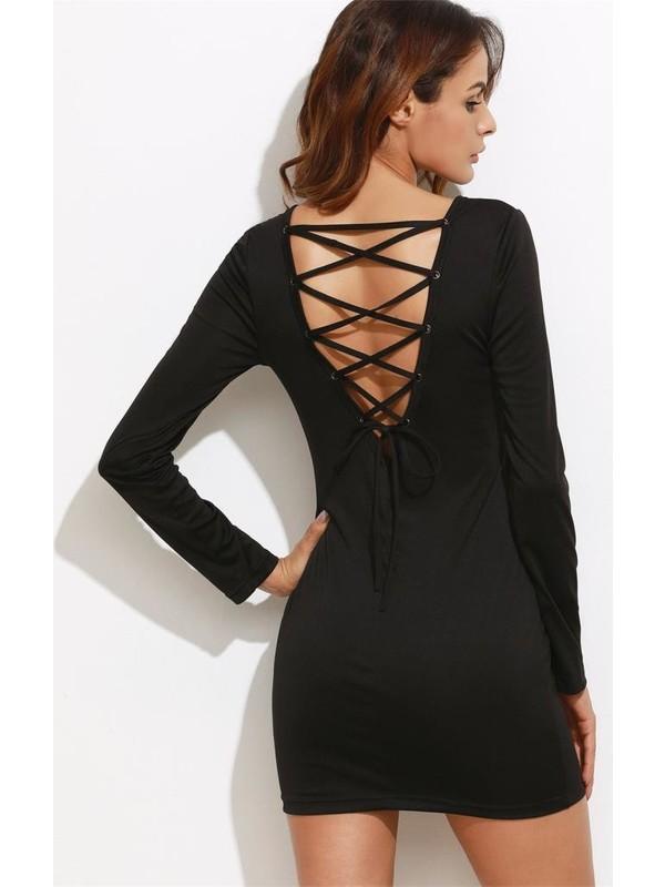 JT Sırt Dekolteli Uzun Kollu Mini Elbise 101321