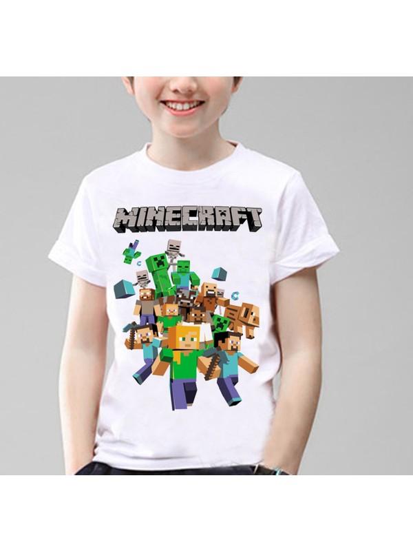 Minecraft Çocuk T-Shirt Beyaz Unisex