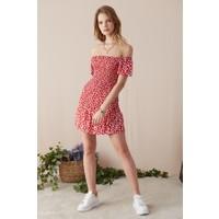 Eka Geniş Yaka Desenli Elbise-Kırmızı